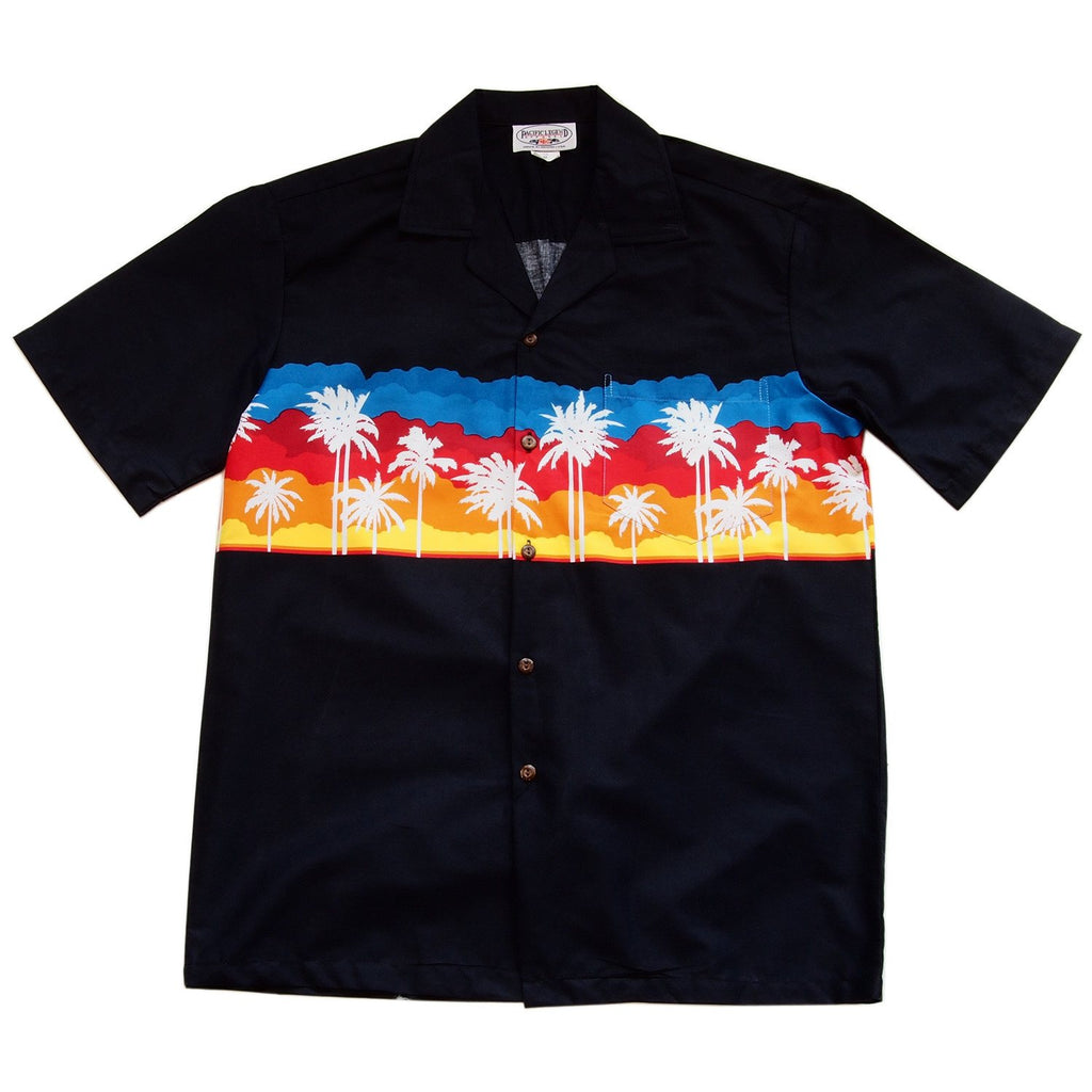 Sunset Black Hawaiian Border Aloha Sport Shirt - PapayaSun