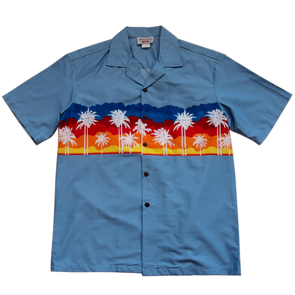 Sunset Blue Hawaiian Border Aloha Sport Shirt - PapayaSun