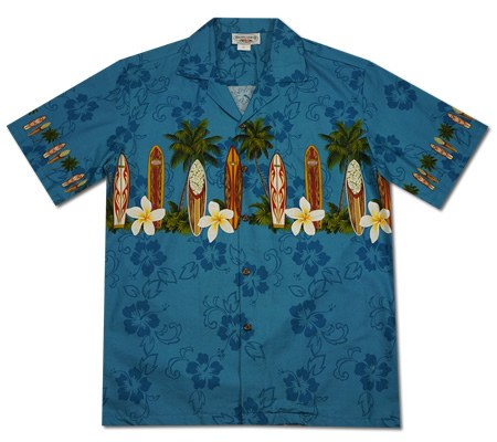 Surfboard Blue Hawaiian Border Aloha Sport Shirt - PapayaSun