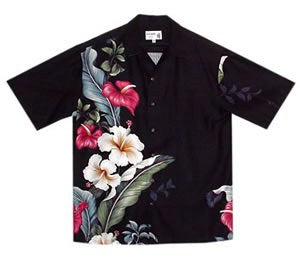 Sweetheart Black Hawaiian Rayon Aloha Camp Shirt - PapayaSun