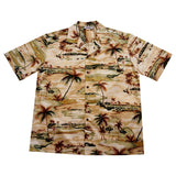Tee Off Tan Golf Cotton Hawaiian Shirt