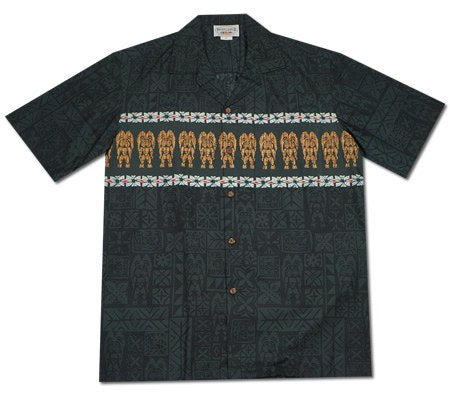Tiki Black Hawaiian Border Aloha Sport Shirt - PapayaSun