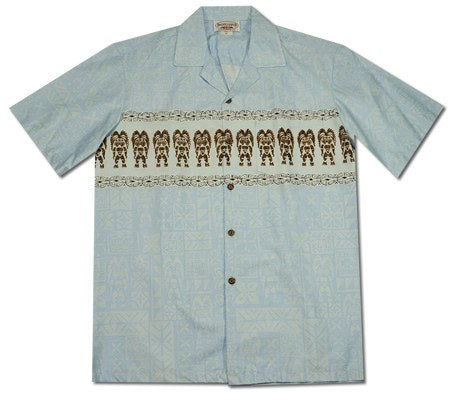 Tiki Blue Hawaiian Border Aloha Sport Shirt - PapayaSun