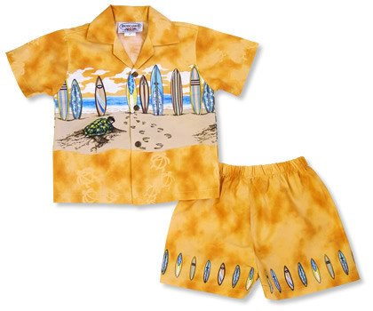 Turtle Orange Hawaiian Boy Cabana Border Shirt & Shorts Set - PapayaSun