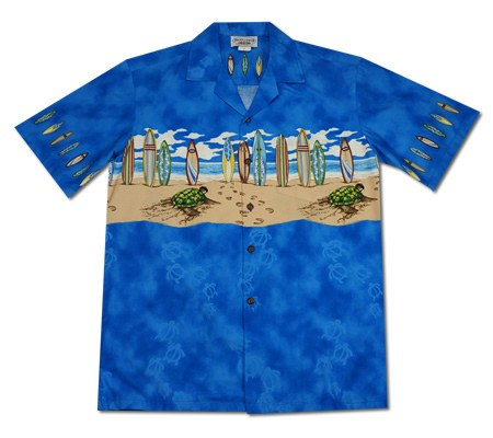 Turtle Surf Blue Hawaiian Border Aloha Sport Shirt - PapayaSun