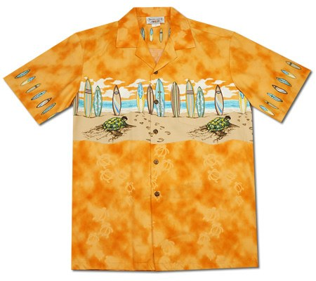 Turtle Surf Orange Hawaiian Border Aloha Sport Shirt - PapayaSun