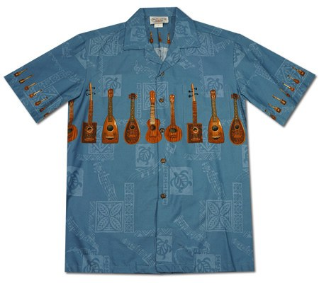 Ukulele Melody Blue Hawaiian Border Aloha Shirt - PapayaSun