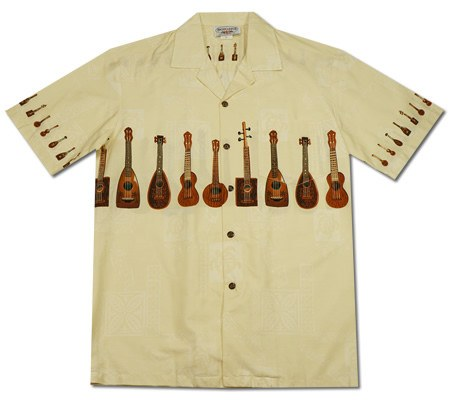 Ukulele Melody White Hawaiian Border Aloha Shirt - PapayaSun