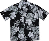Waikiki Black Hawaiian Cotton Aloha Shirt - PapayaSun