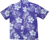 Waikiki Purple Hawaiian Cotton Aloha Shirt - PapayaSun