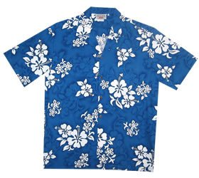 Waves Blue Hawaiian Teen Cotton Aloha Shirt - PapayaSun