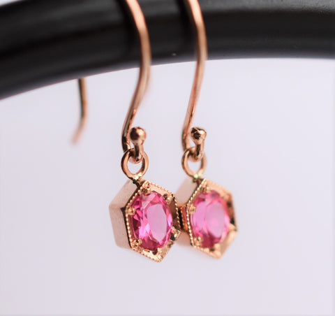 hexagon 14k gold earrings with spinel