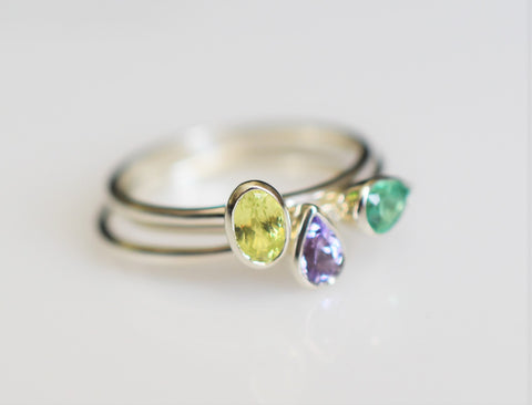gold stacking rings with gemstones