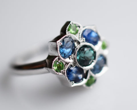 14k gold ring with tourmaline sapphire and mint garnet