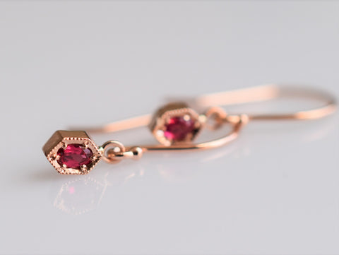 14k gold hexagon earrings with spinel