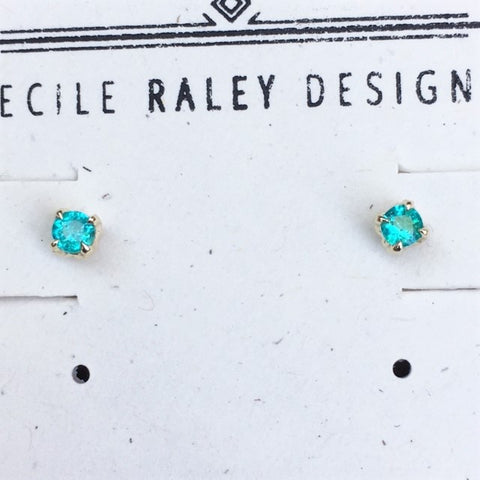 Paraiba and Gold Stud Earrings