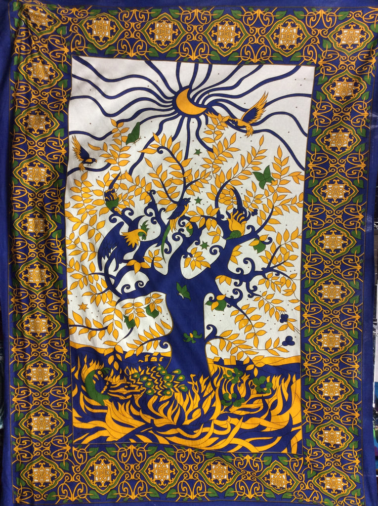Tree Of Life Yellow and Blue Tapestry