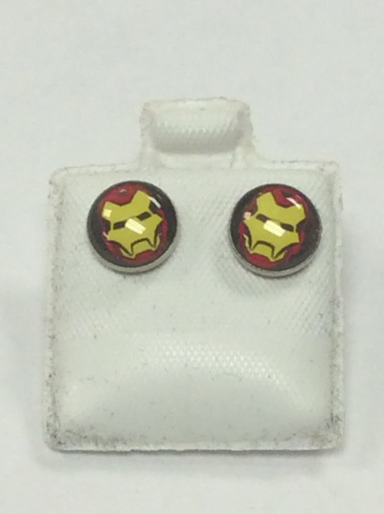 Silver Iron Man Earrings