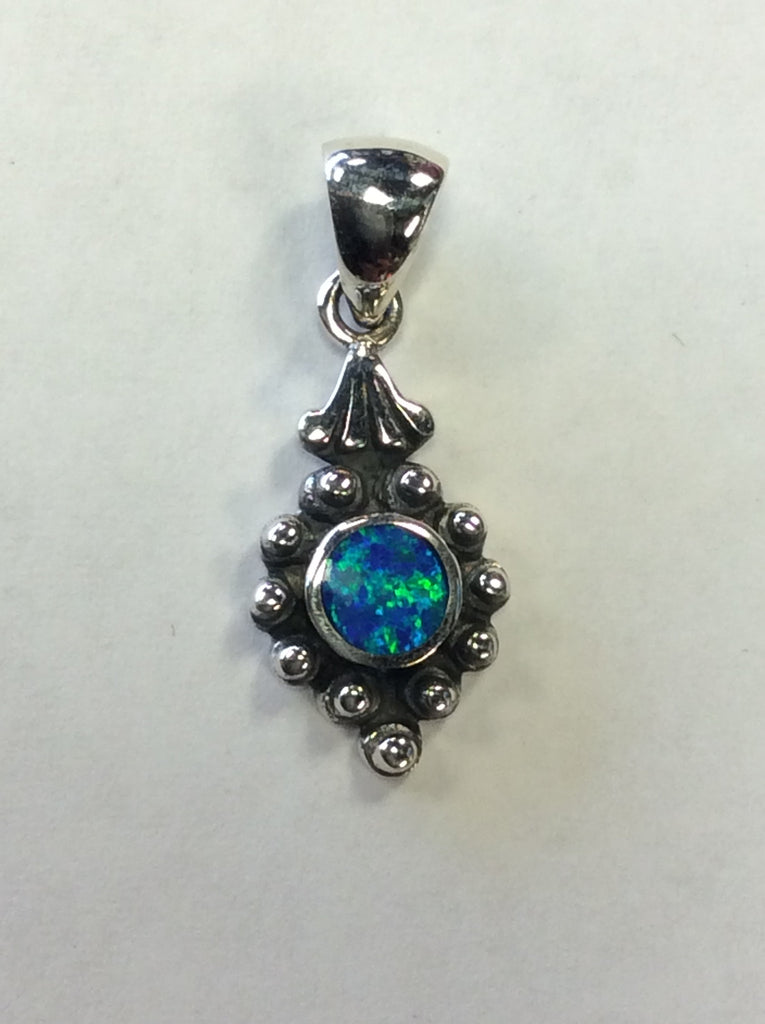 Opal Pendant Blue Studded Diamond