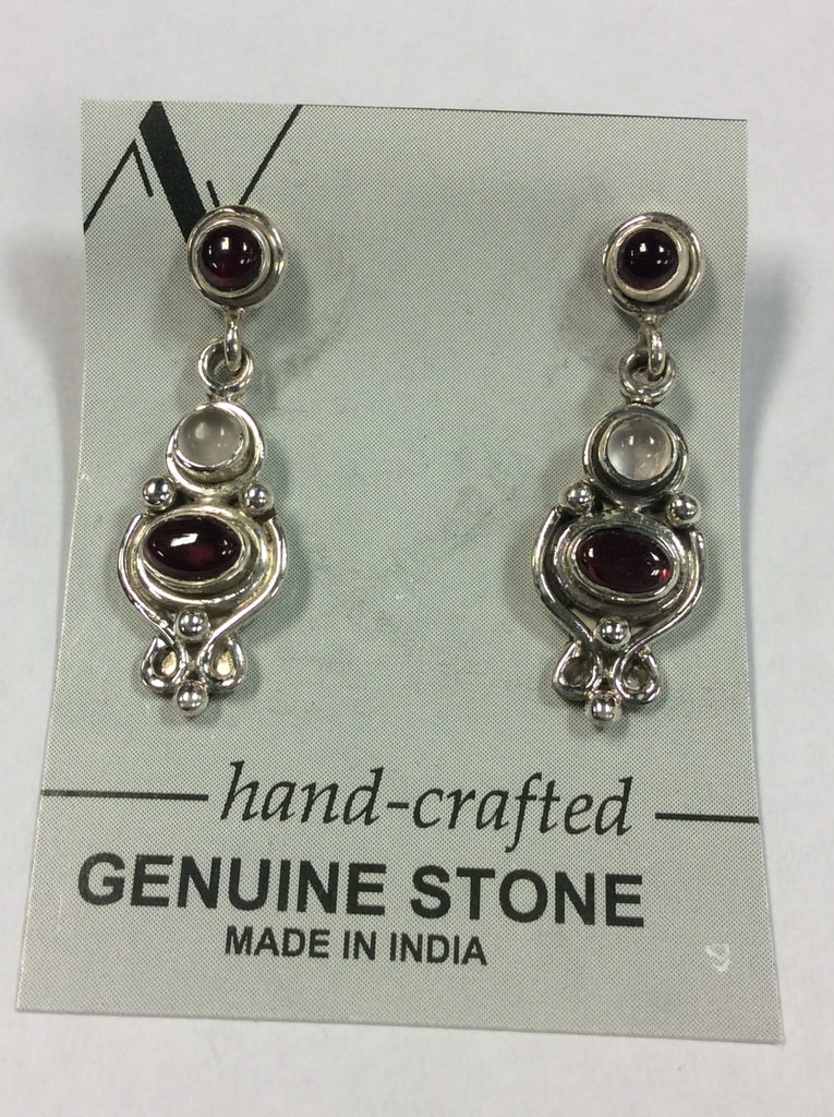 Sterling Garnet Moonstone Earrings
