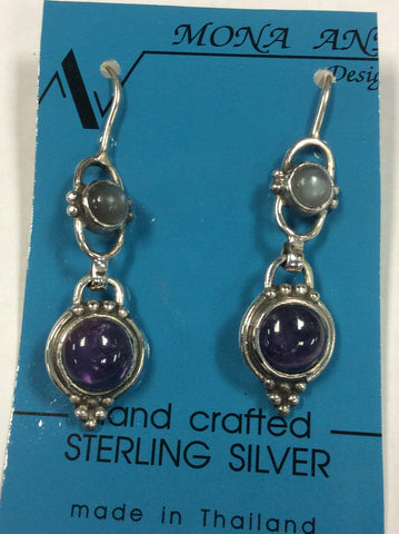 Sterling Amethyst Moonstone Earrings