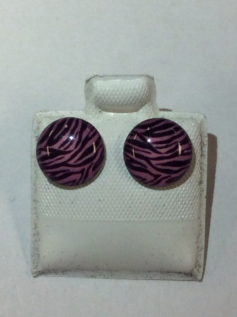 Silver Pink Zebra Earrings