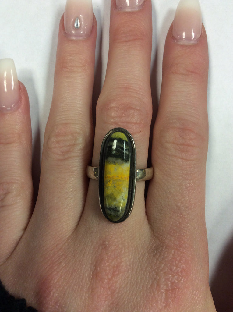 Sterling Bumble Bee Jasper Ring