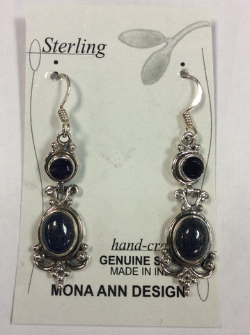 Sterling Amethyst Lapis Earrings