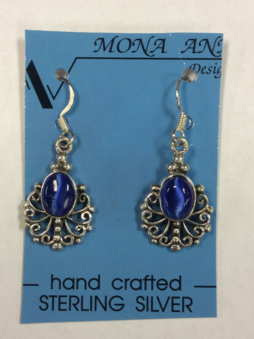 Sterling Blue Cats Eye Earrings
