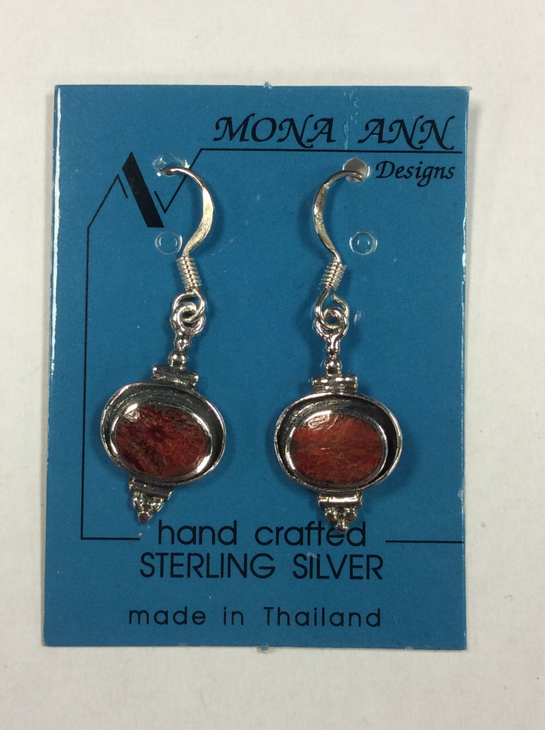 Sterling Red Jasper Earrings