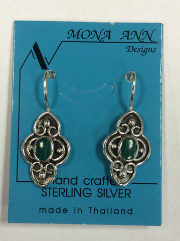 Sterling Malachite Earrings