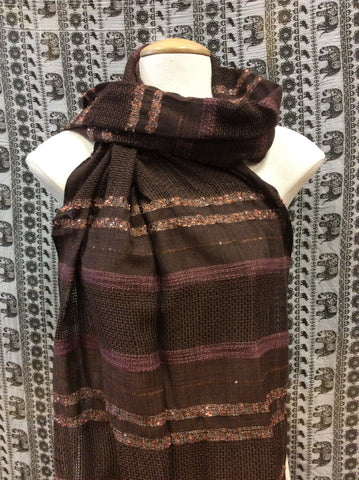 Festival Lurex Scarf Stripe Brown & Mauve