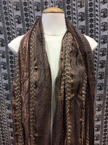 Festival Lurex Scarf Stripe Brown & Cream