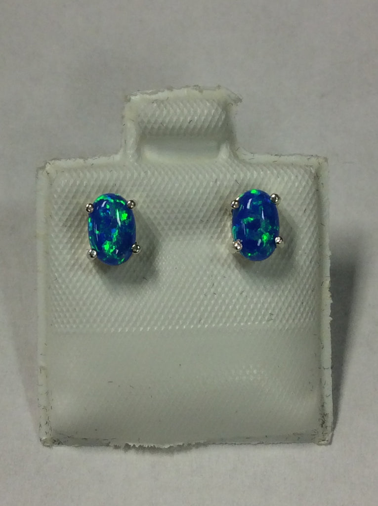 Sterling Blue Opal Earrings
