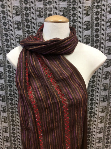 Festival Lurex Scarf Stripe Brown & Purple & Red