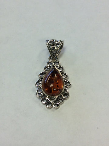 Sterling Pendant Amber Filigree
