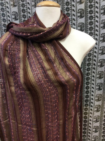 Festival Lurex Scarf Stripe Brown & Purple & Olive