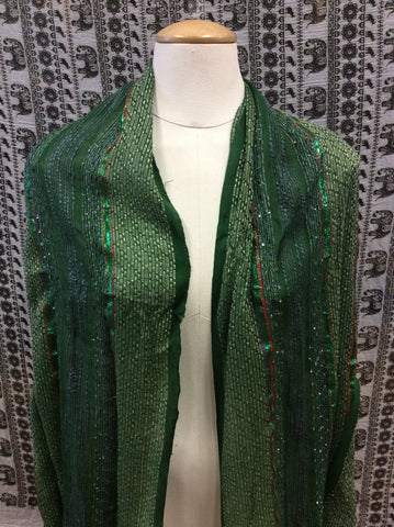 Festival Lurex Scarf Stripe Green