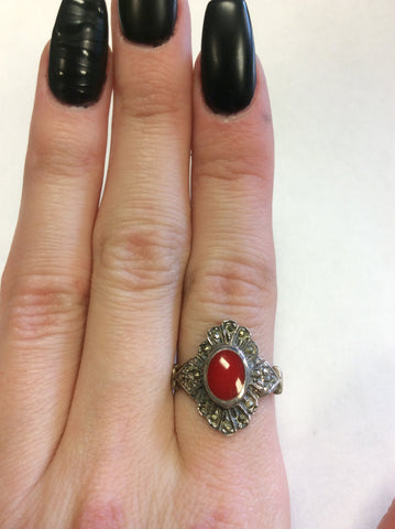 Sterling Coral Marcasite Ring