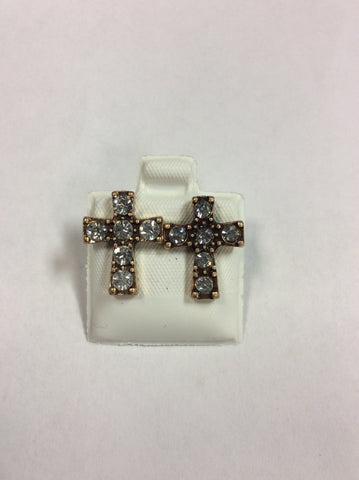 Gold Plated Cross Crystal Earrings