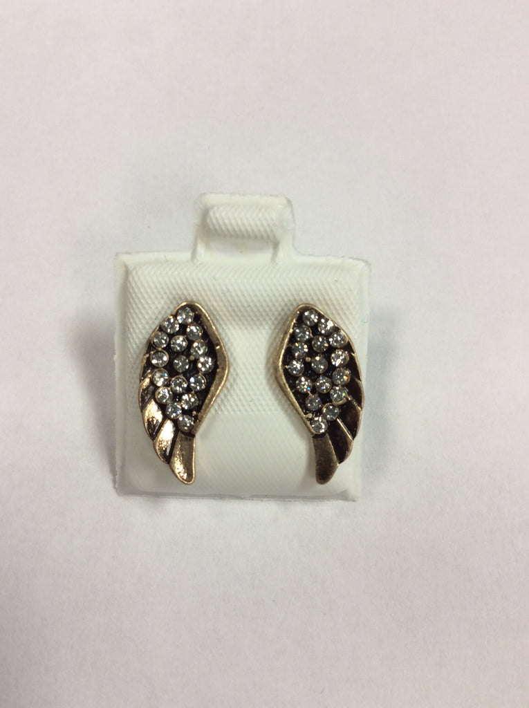 Gold Plated Angel Wing Crystal Earrings