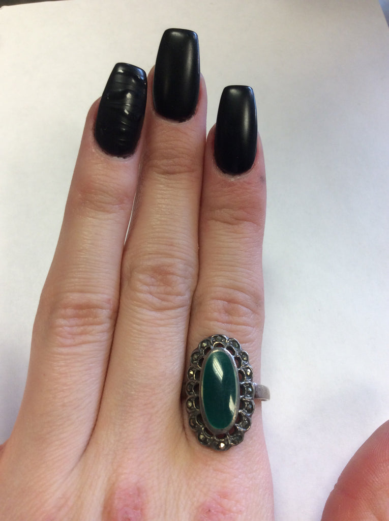 Sterling Malachite Marcasite Ring