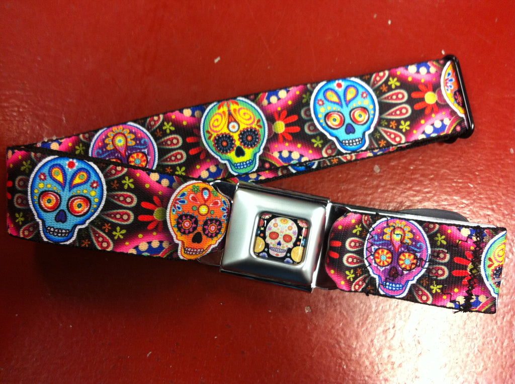 Sugar Skull Bright Seat Belt Belt