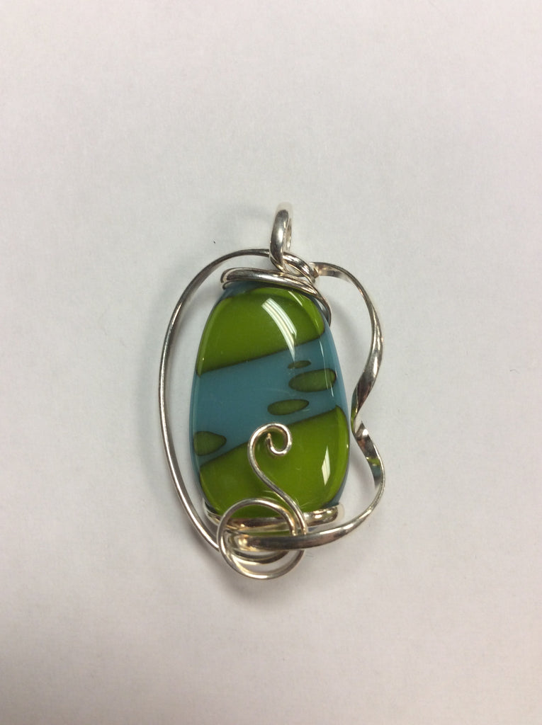 Silver Wire Wrap Pendant Dichroic Glass