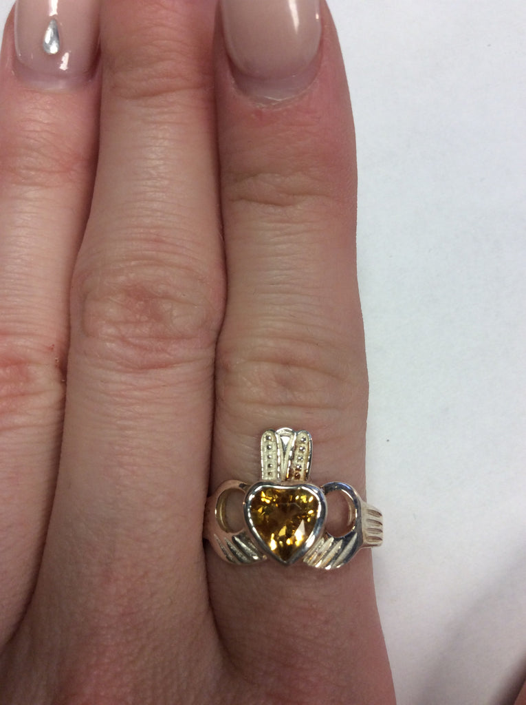 Sterling Topaz Claddagh Ring