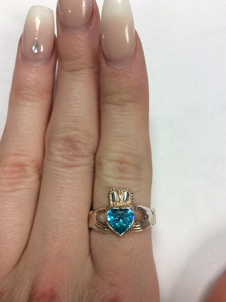 Sterling Aquamarine Claddagh Ring