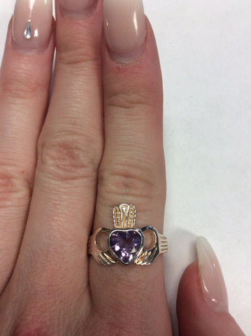 Sterling Amethyst Claddagh Ring