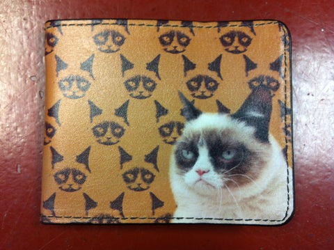 Grumpy Cat Repeat Leather Bifold Wallet