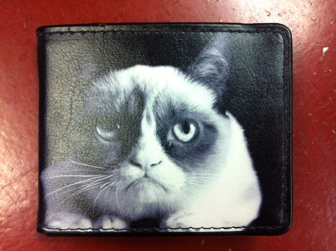 Grumpy Cat Mugshot Leather Bifold Wallet