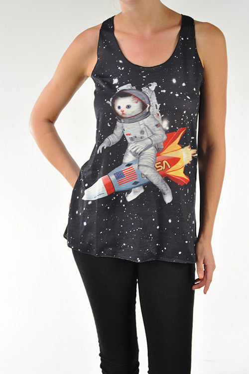 Rocket Ship Cat Junior Tank Top